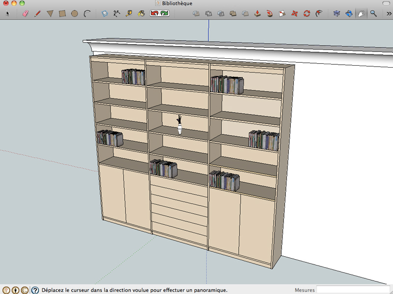 Biblioth que sur mesure aux lignes pur es cr ation for Conception 3d appartement